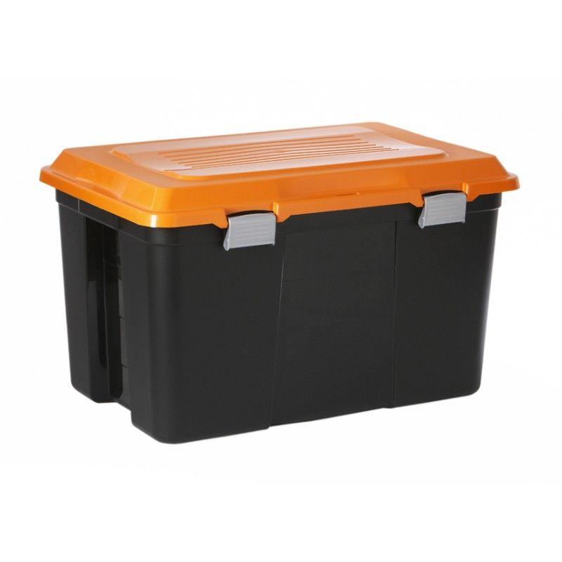 Coffre de rangement 60l malle avec poignee et couvercle - Grande boite de rangement plastique ...
