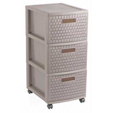 tour de rangement 3 tiroirs sur roulettes 14l 38x30cm h65 5cm. Black Bedroom Furniture Sets. Home Design Ideas