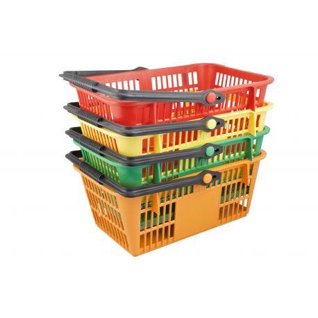 panier plastique libre service avec anse 15l rouge bleu vert jaune. Black Bedroom Furniture Sets. Home Design Ideas